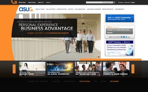 Screenshot of Home Page asug.com - ASUG.com - Home - captured Sept. 23, 2014
