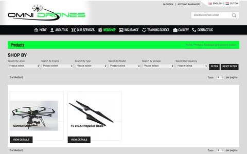 Screenshot of Products Page omni-drones.nl - Products - captured Dec. 2, 2016