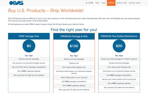 Screenshot of Signup Page opas.com - Buy U.S. Products – Ship Worldwide! -  OPAS - captured Dec. 4, 2016