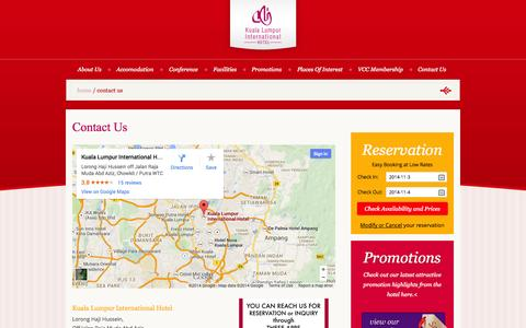 Screenshot of Contact Page klitel.com.my - Contact Us | KL International Hotel - captured Nov. 3, 2014