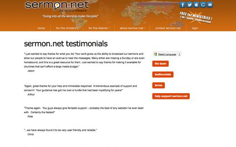 Screenshot of Testimonials Page thesermonnetwork.com - sermon.net testimonials - what Ministries have to say - captured Sept. 24, 2014