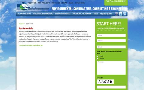 Screenshot of Testimonials Page ancoenv.com - Testimonials - Ancoenv - captured Oct. 27, 2014