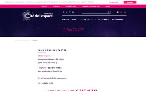 Screenshot of Contact Page cite-espace.com - Contact - captured Sept. 25, 2018