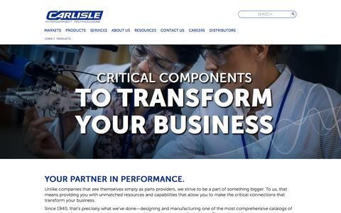 Screenshot of Products Page carlisleit.com - Wire & Cable, Assemblies, Connectors, Contacts & More | CarlisleIT - captured Oct. 10, 2017