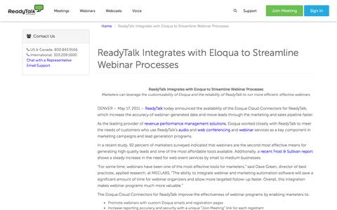 ReadyTalk Integrates with Eloqua to Streamline Webinar Processes | ReadyTalk