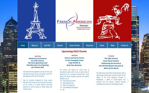 Screenshot of Home Page faccphila.org - FACC Philadelphia, faccphila.org, French American Chamber of Commerce - captured Oct. 11, 2018