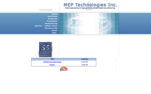 Screenshot of Jobs Page meptec.com - MEP Technologies - captured Oct. 1, 2014
