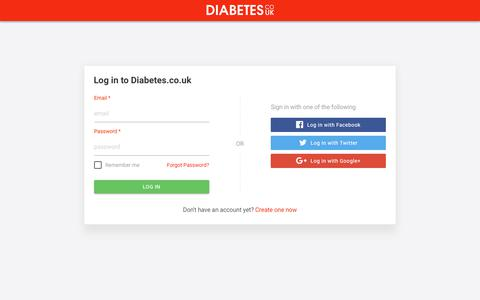 Screenshot of Signup Page diabetes.co.uk - DCUK ID - captured April 9, 2018