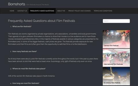 Screenshot of FAQ Page bornshorts.com - Frequently Asked Questions about Film Festivals | Bornshorts - captured March 5, 2016