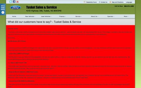 Screenshot of Testimonials Page tusketford.ca - TESTIMONIALS at Tusket Sales & Service - Your Tusket, Nova Scotia Ford dealer - captured Feb. 16, 2016