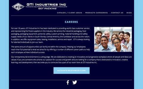 Screenshot of Jobs Page gtiindustries.com - Jobs — GTI Industries Inc - captured Jan. 25, 2016