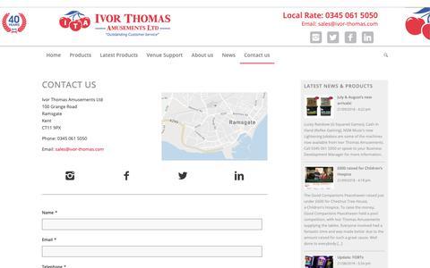 Screenshot of Contact Page ivor-thomas.com - Contact us - Ivor Thomas Amusements - captured Oct. 13, 2018
