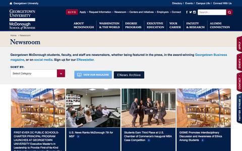 Screenshot of Press Page georgetown.edu - Newsroom | Georgetown University - captured Jan. 21, 2017