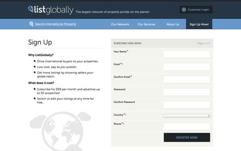 Screenshot of Signup Page listglobally.com - ListGlobally | The largest network of property portals on the planet! - captured Sept. 23, 2014