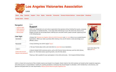 Screenshot of Support Page lavatransforms.org - Support | Los Angeles Visionaries Association - captured Oct. 1, 2014