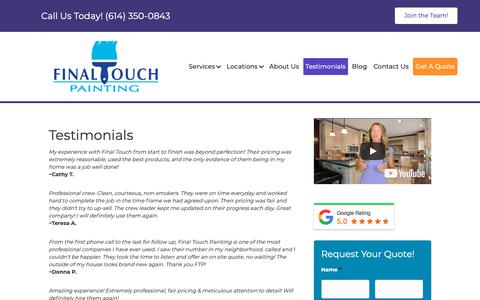Screenshot of Testimonials Page ftpaint.com - Testimonials - Final Touch Painting - captured Oct. 10, 2018