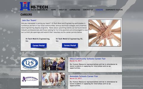 Screenshot of Jobs Page hitechmold.com - Hi-Tech Mold & Engineering, Inc | Careers, Plastic Injection Molding - captured Aug. 4, 2017