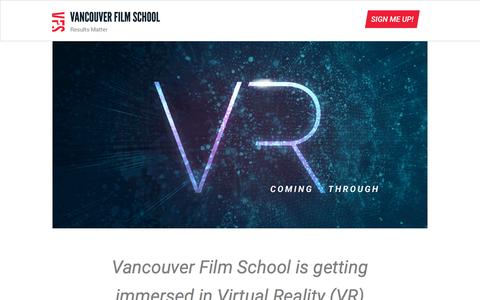 Screenshot of Landing Page vfs.edu - VFS VR First - captured Oct. 1, 2016