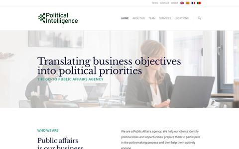 Screenshot of Home Page political-intelligence.com - Public affairs and Lobbying Agency United Kingdom | Political Intelligence - captured Jan. 23, 2019