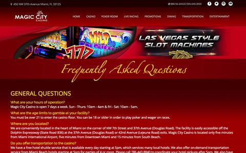 Screenshot of FAQ Page magiccitycasino.com - Frequently Asked Questions | Magic City Casino - captured March 6, 2018