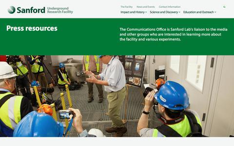 Screenshot of Press Page sanfordlab.org - Press resources   Sanford Underground Research Facility - captured Oct. 4, 2017