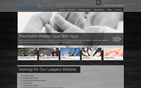 Screenshot of Site Map Page farrellpatel.com - Sitemap for Our Lawyers Website - captured Oct. 13, 2017
