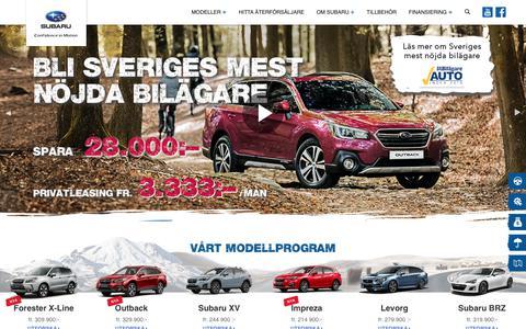 Screenshot of Home Page subaru.se - Subaru Sverige - Subaru - captured Nov. 7, 2018