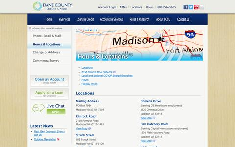 Screenshot of Locations Page Hours Page dccu.us - Hours & Locations - Dane County Credit Union - captured Oct. 23, 2014