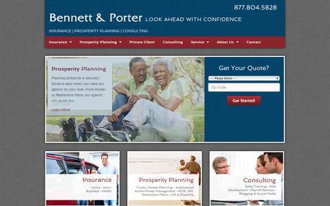 Screenshot of Home Page bapins.com - Arizona & California Insurance | Bennett and Porter - captured Oct. 5, 2014