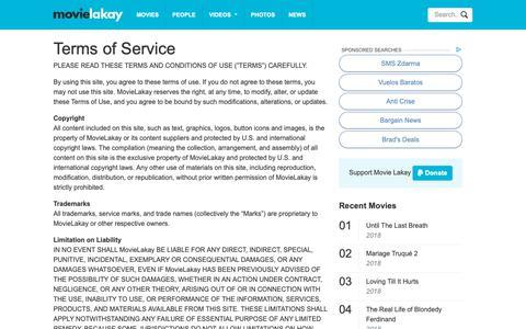Screenshot of Terms Page movielakay.com - Terms of Service - Movie Lakay - captured Nov. 19, 2018
