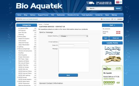Screenshot of Contact Page bioaquatek.com - Contact us - Bio Aquatek - captured Oct. 5, 2014