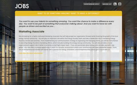 Screenshot of Jobs Page energyfoundry.com - Jobs - Energy Foundry - captured Oct. 28, 2014