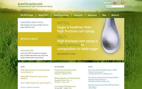 Screenshot of Home Page sweetsurprise.com - SweetSurprise.com | The Facts about High Fructose Corn Syrup - captured Sept. 18, 2015