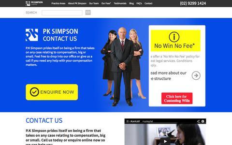 Screenshot of Contact Page pksimpson.com.au - Contact Us | PK Simpson | Traffic and Compensation Lawyers Sydney & Parramatta - captured Oct. 1, 2014