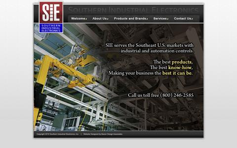 Screenshot of Home Page siealb.com - Welcome to Southern Industrial Electronics [SIE] - captured Feb. 15, 2016