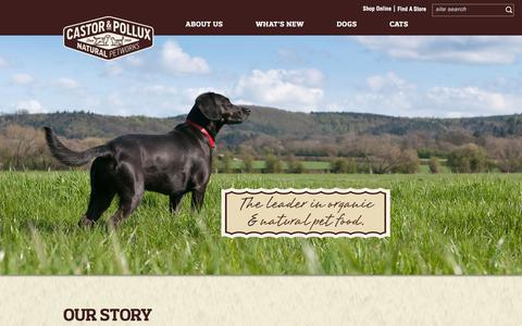 Screenshot of About Page castorpolluxpet.com - Our Story - Castor & Pollux, Inc. - captured Jan. 26, 2016
