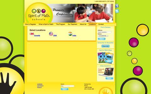 Screenshot of Locations Page spiritofmath.com - Locations - captured Oct. 6, 2014