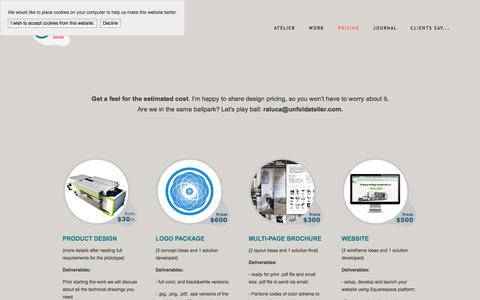 Screenshot of Pricing Page unfoldatelier.com - Unfold Price Guides — Unfold Atelier + Your Startup = Growth - captured Oct. 29, 2014