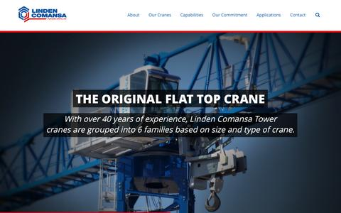 Screenshot of Home Page lindencomansaamerica.com - Linden Comansa | The Original Flat Top Crane - captured Jan. 20, 2015