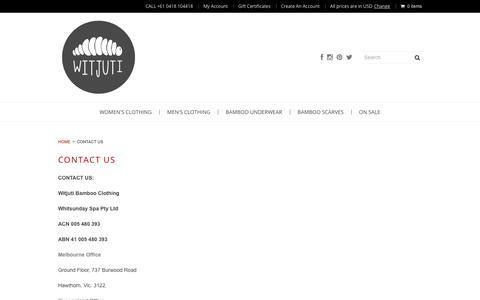 Screenshot of Contact Page witjuti.com - Witjuti Bamboo Clothing | Contact Customer Service - captured Nov. 10, 2018