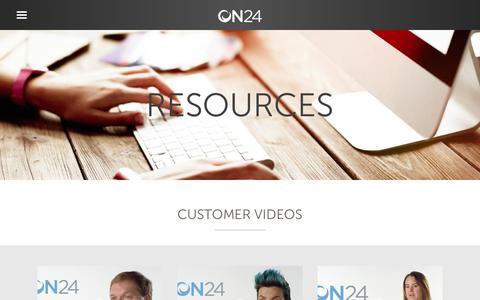 Screenshot of on24.com - Resource Center | Webinars | White Papers | Case Studies | ON24 - captured June 16, 2017