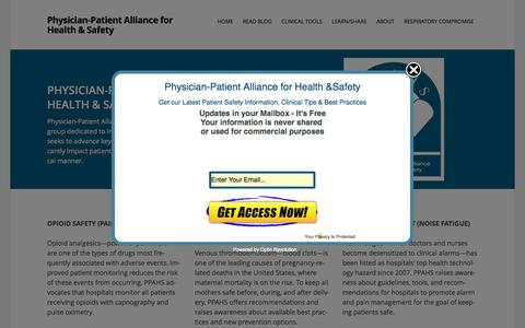 Screenshot of Home Page ppahs.org - Physician-Patient Alliance for Health & Safety | Improving Health & Safety Through Innovation and Awareness - captured June 18, 2015