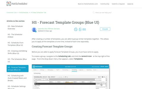 Screenshot of Support Page hotschedules.com - HS - Forecast Template Groups (Blue UI) – Customer Care - captured March 8, 2018