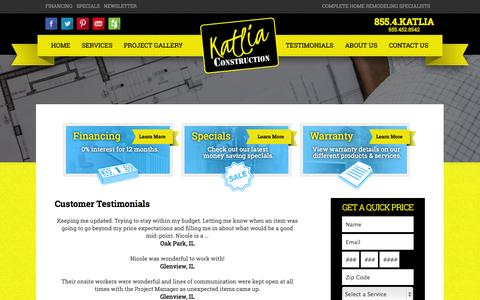 Screenshot of Testimonials Page katlia.com - Testimonials - captured Oct. 6, 2014