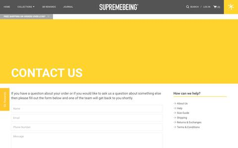 Screenshot of Contact Page supremebeing.com - Contact us / Supremebeing - captured Nov. 25, 2016