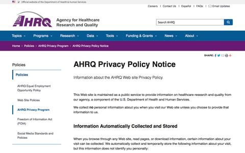 Screenshot of Privacy Page ahrq.gov - AHRQ Privacy Policy Notice | Agency for Health Research and Quality - captured Nov. 11, 2019