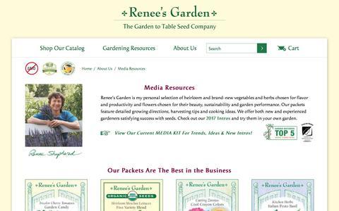 Screenshot of Press Page reneesgarden.com - Media Resources                                                 | Renee's Garden Seeds - captured Oct. 29, 2017