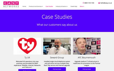 Screenshot of Case Studies Page easy.co.uk - Easy Networks | What our customers say about us - captured Sept. 26, 2018