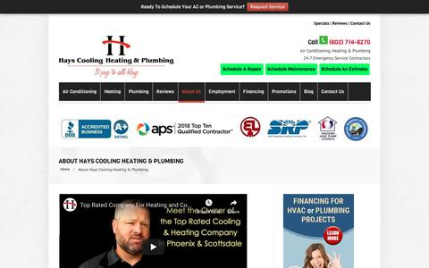 Screenshot of About Page hayscoolingandheating.com - #1 Heating and Cooling Company in Phoenix & Scottsdale AZ | HVAC Repair - captured June 18, 2019