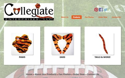 Screenshot of Products Page collegiateenterprises.com - Spirit Tails, Ears, Paws :: Collegiate Enterprises, LLC - captured Sept. 30, 2014